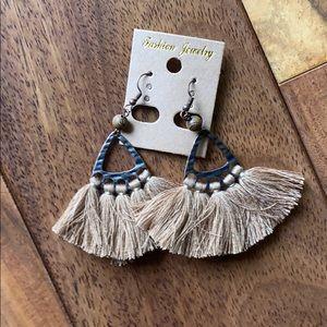 Bronze Earrings with brown tassels